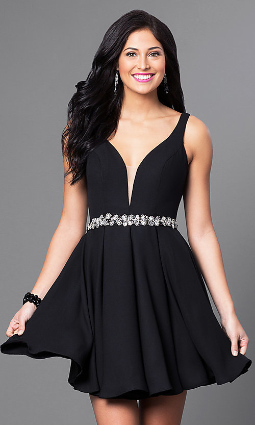 e6e7afab339 Image of short open-back homecoming dress with low v-neck. Style