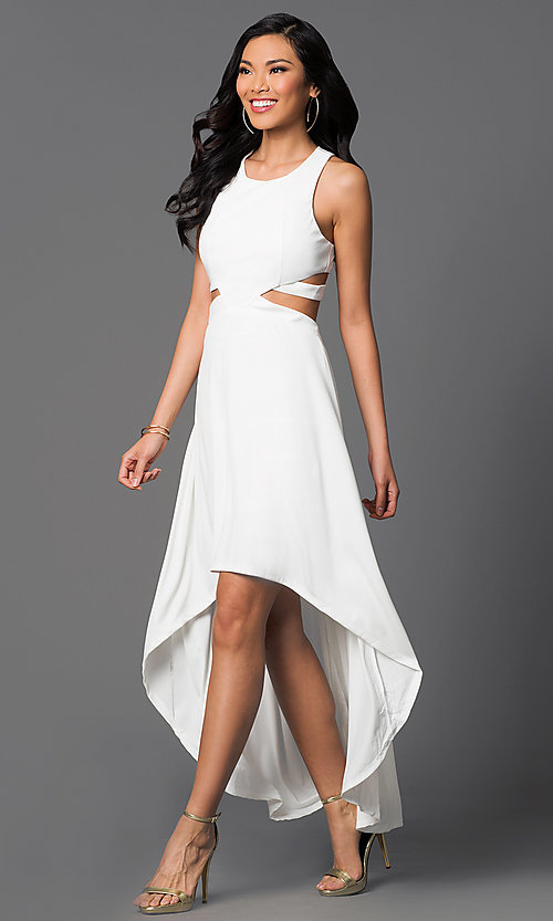 Image of high-low sleeveless racerback ivory party dress. Style: CQ-3350DK-1 Front Image