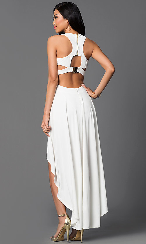 Image of high-low sleeveless racerback ivory party dress. Style: CQ-3350DK-1 Back Image