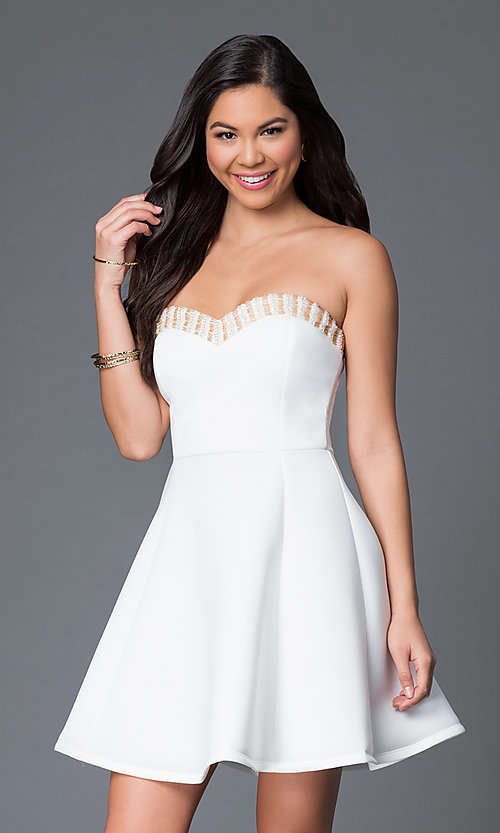 Image of strapless sweetheart short party dress with beads. Style: CL-43713-v Detail Image 2