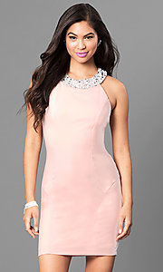 Image of jeweled-collar light pink homecoming party dress. Style: SS-D62641JNM Front Image