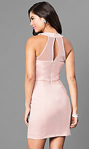 Image of jeweled-collar light pink homecoming party dress. Style: SS-D62641JNM Back Image