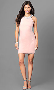 Image of jeweled-collar light pink homecoming party dress. Style: SS-D62641JNM Detail Image 1