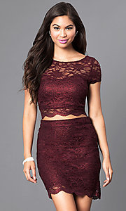 Image of two-piece burgundy short-sleeve lace homecoming dress. Style: SS-M94031HUA Front Image