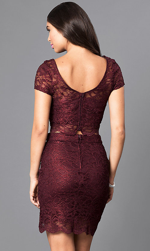 Image of two-piece burgundy short-sleeve lace homecoming dress. Style: SS-M94031HUA Back Image