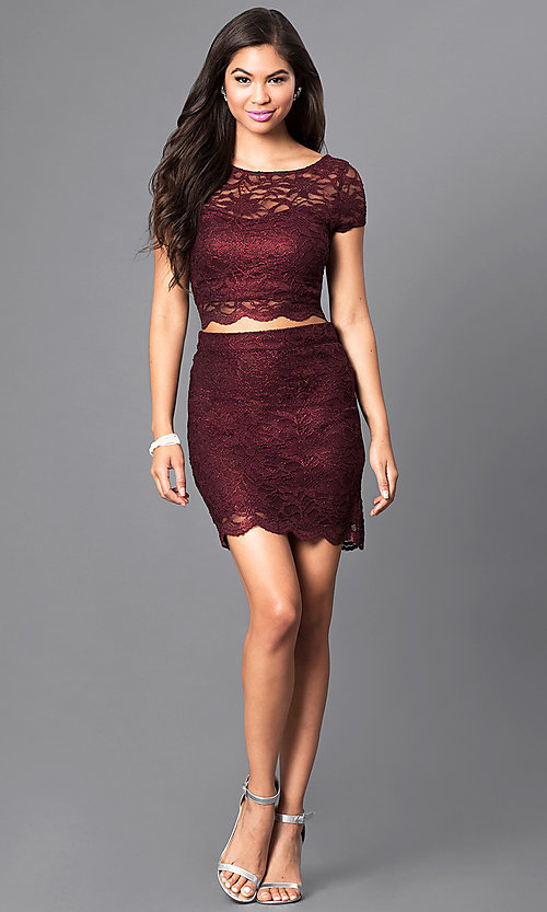 Image of two-piece burgundy short-sleeve lace homecoming dress. Style: SS-M94031HUA Detail Image 1