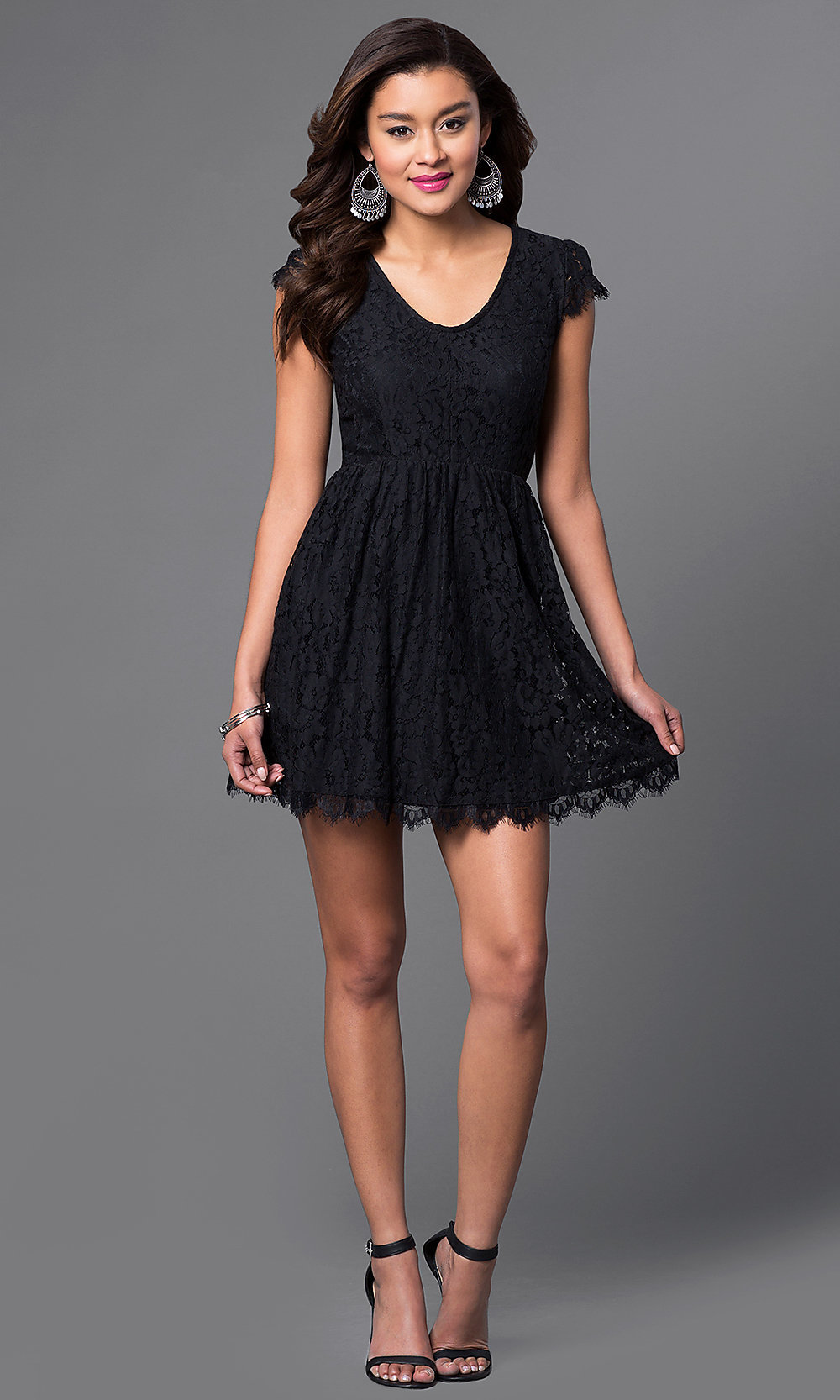 623e2ebe73 Image of black lace scoop-neck short-sleeve homecoming dress. Style: SS.  Tap to expand