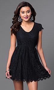 Image of black lace scoop-neck short-sleeve homecoming dress. Style: SS-JA83451HGM Front Image