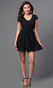 Image of black lace scoop-neck short-sleeve homecoming dress. Style: SS-JA83451HGM Detail Image 1