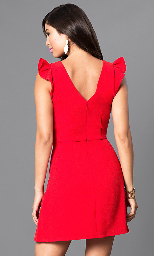 Image of red short day-to-night dress with ruffled cap sleeves. Style: SS-JA85511GKW Back Image