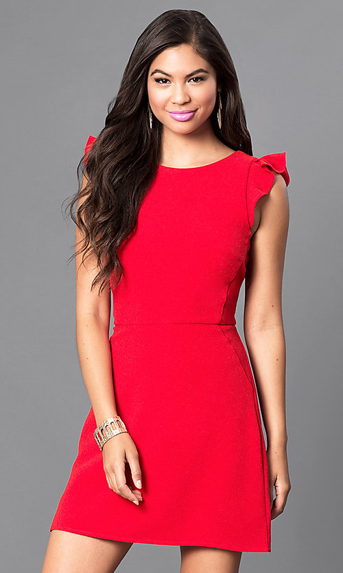 Image of red short day-to-night dress with ruffled cap sleeves. Style: SS-JA85511GKW Front Image