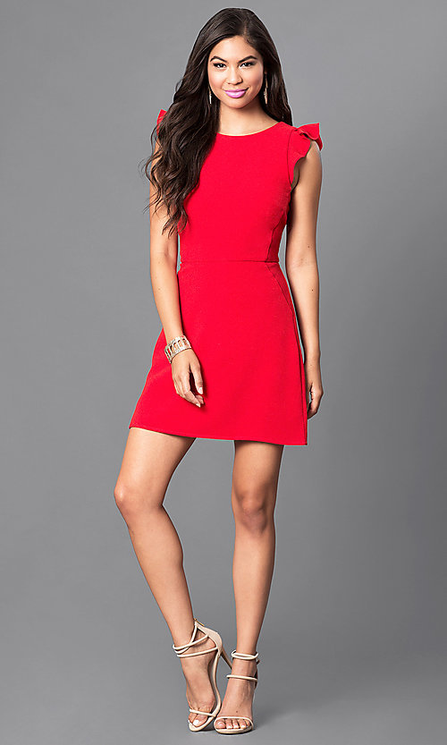 Image of red short day-to-night dress with ruffled cap sleeves. Style: SS-JA85511GKW Detail Image 1