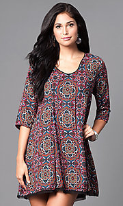 Short 3/4 Sleeve Semi-Casual Shift Dress