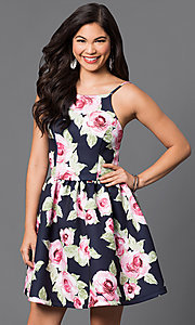 Short Floral-Print Spaghetti-Strap Party Dress