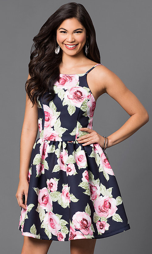 Image of short floral-print spaghetti-strap party dress. Style: JTM-JD7013 Front Image