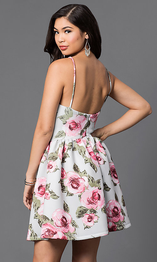 Image of short floral-print spaghetti-strap party dress. Style: JTM-JD7013 Back Image