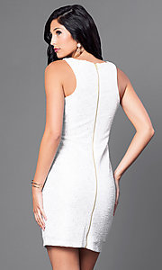 Image of short sleeveless ivory white party dress. Style: SS-D59456J169 Back Image