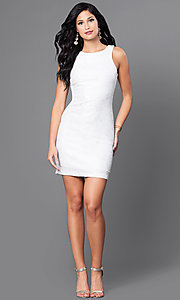 Image of short sleeveless ivory white party dress. Style: SS-D59456J169 Detail Image 1