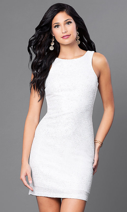 Image of short sleeveless ivory white party dress. Style: SS-D59456J169 Front Image