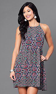 Sleeveless Floral Print Gathered Waist Casual Dress