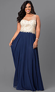 Image of plus-size long prom dress with illusion bodice Style: DQ-9247P Front Image