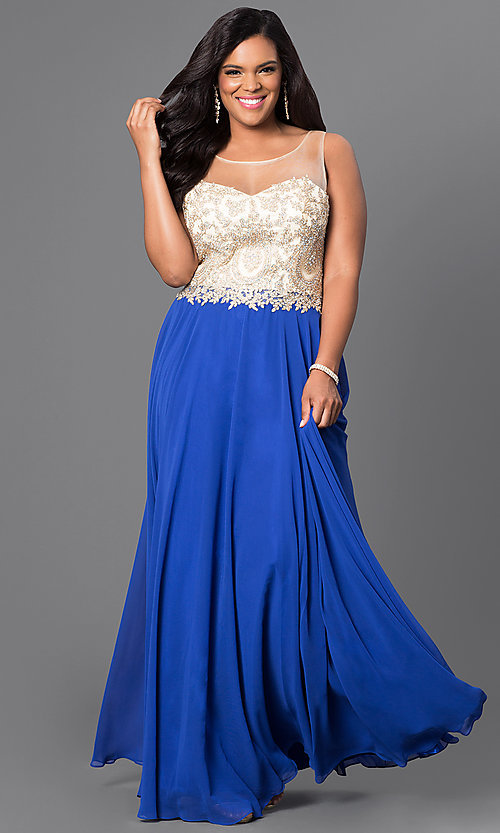 Image of plus-size long prom dress with illusion bodice Style: DQ-9247P Detail Image 2