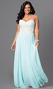 Floor Length Strapless Prom Dress with Corset Back