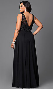 Image of long formal gown with lace sleeveless bodice. Style: DQ-9325P Back Image