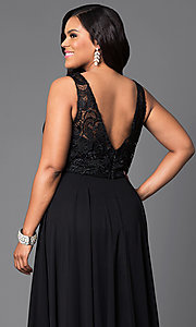 Image of long formal gown with lace sleeveless bodice. Style: DQ-9325P Detail Image 2