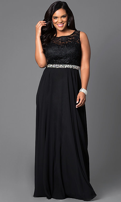 Image of long formal gown with lace sleeveless bodice. Style: DQ-9325P Front Image