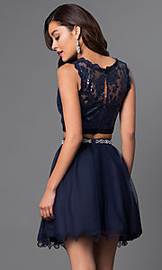 Image of short two-piece navy homecoming dress. Style: MY-2611MU1P Back Image