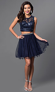 Image of short two-piece navy homecoming dress. Style: MY-2611MU1P Detail Image 1