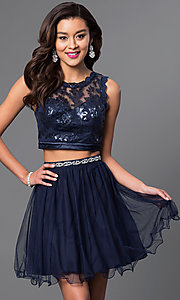 Image of short two-piece navy homecoming dress. Style: MY-2611MU1P Front Image