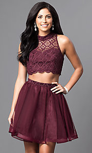 Image of two-piece short high-neck homecoming dress. Style: MY-4031RY1P Front Image