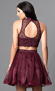 Image of two-piece short high-neck homecoming dress. Style: MY-4031RY1P Back Image