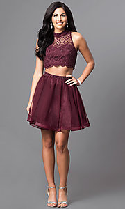 Image of two-piece short high-neck homecoming dress. Style: MY-4031RY1P Detail Image 1