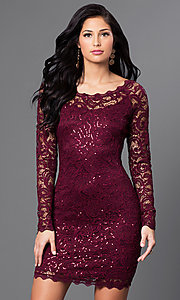 Image of lace long sleeve short homecoming party dress. Style: MY-2387IW1C Front Image
