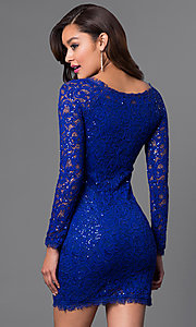 Image of lace long sleeve short homecoming party dress. Style: MY-2387IW1C Detail Image 2