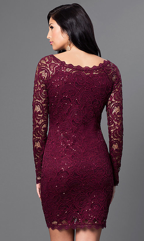 Image of lace long sleeve short homecoming party dress. Style: MY-2387IW1C Back Image
