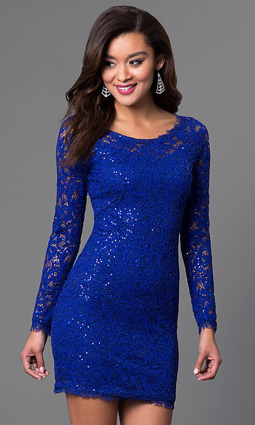 Image of lace long sleeve short homecoming party dress. Style: MY-2387IW1C Detail Image 1