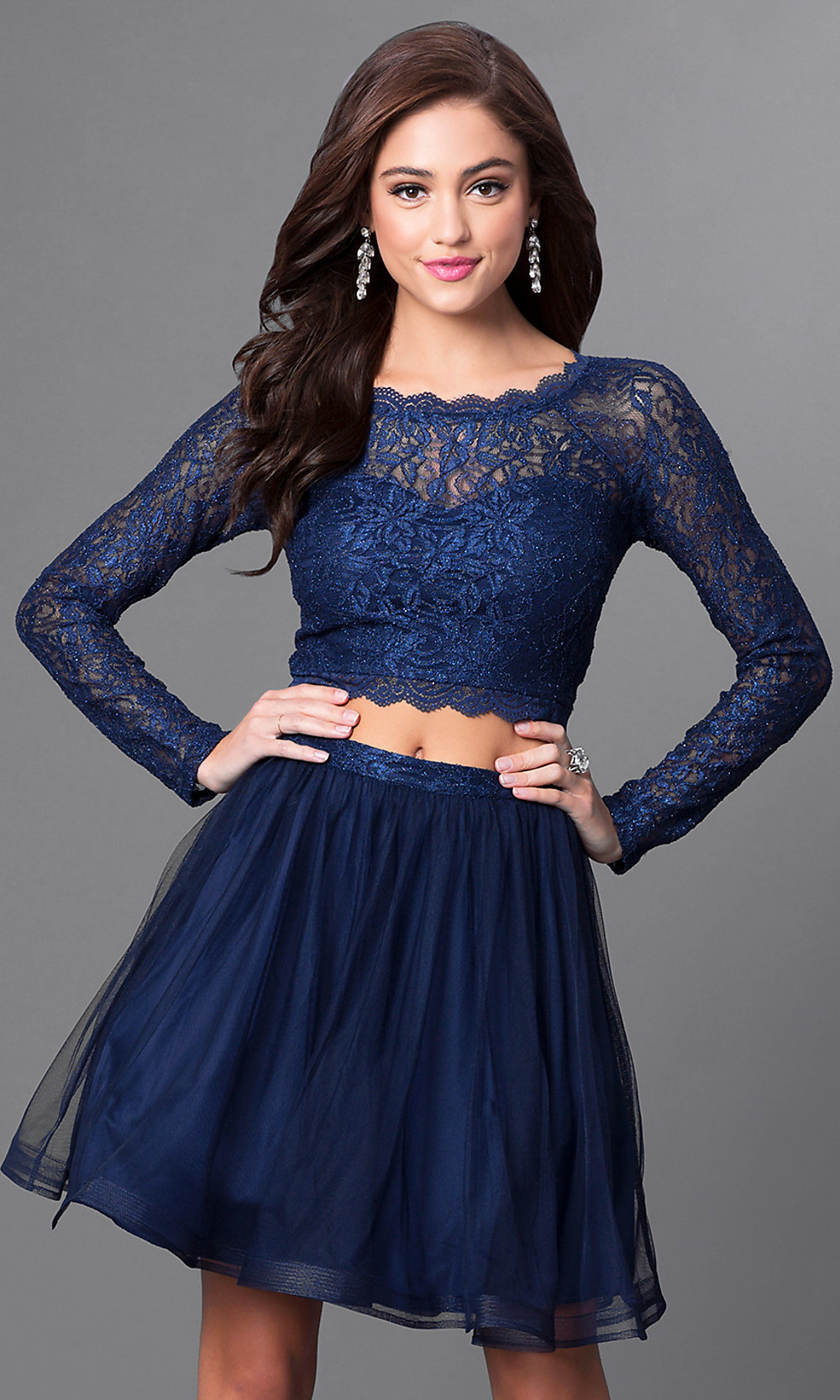 navy blue lace twopiece homecoming dress promgirl