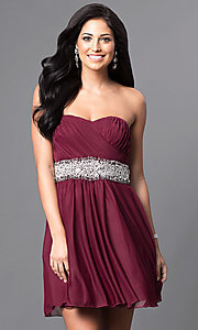 Image of strapless ruched-bodice short homecoming dress. Style: MY-2539XY1P Front Image