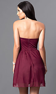 Image of strapless ruched-bodice short homecoming dress. Style: MY-2539XY1P Back Image