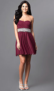 Image of strapless ruched-bodice short homecoming dress. Style: MY-2539XY1P Detail Image 1