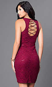 Image of short sleeveless sequined-lace homecoming dress. Style: MY-3184GC1C Back Image