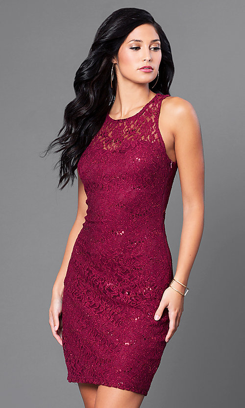 Image of short sleeveless sequined-lace homecoming dress. Style: MY-3184GC1C Front Image