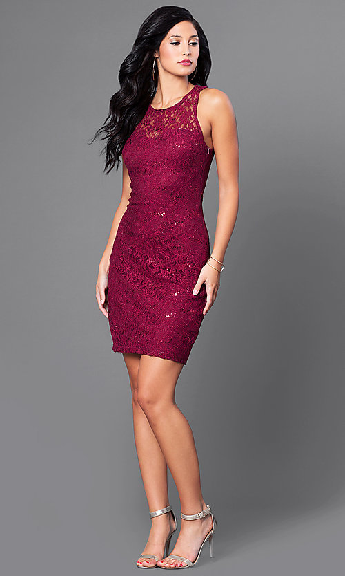 Image of short sleeveless sequined-lace homecoming dress. Style: MY-3184GC1C Detail Image 1
