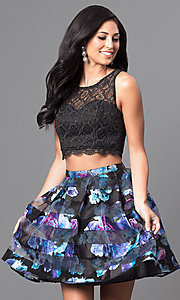 Image of two-piece black and purple print homecoming dress. Style: MY-8967QA1P Front Image