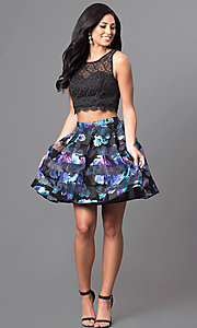Image of two-piece black and purple print homecoming dress. Style: MY-8967QA1P Detail Image 1