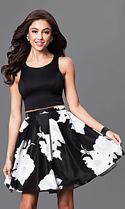 Image of two-piece black and ivory floral-print party dress. Style: MY-9160pz1p Front Image